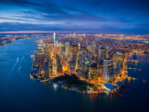 Lower Manhattan, New York. Dominating the skyline is One World Trade Centre, better known as Freedom